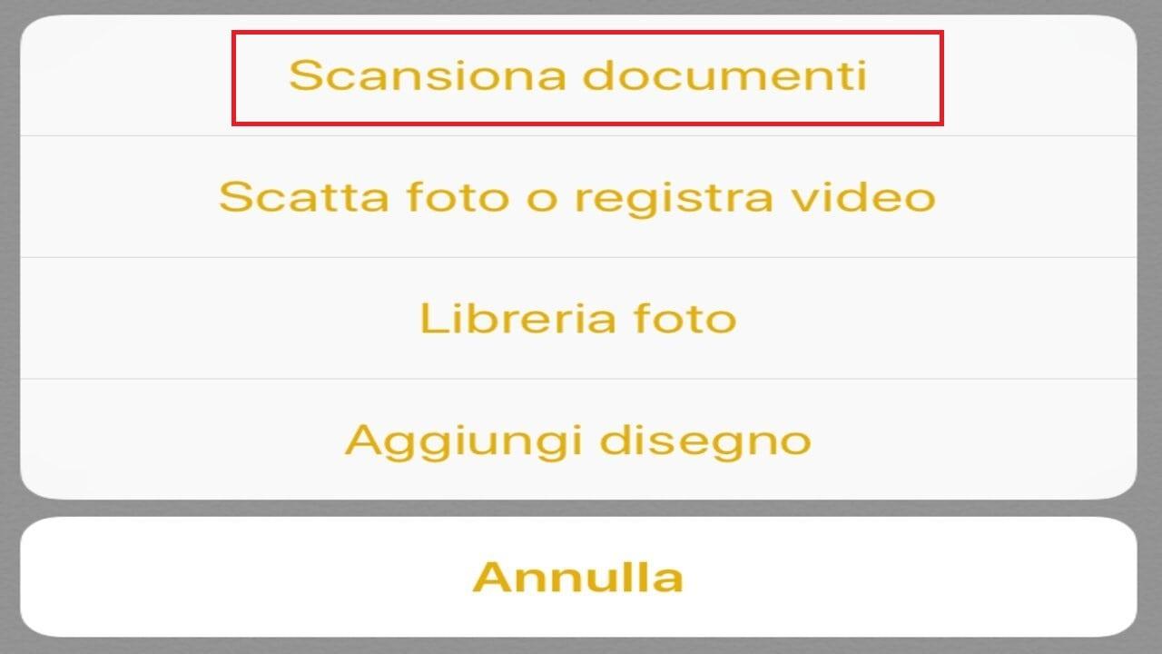 scansionare documenti iphone