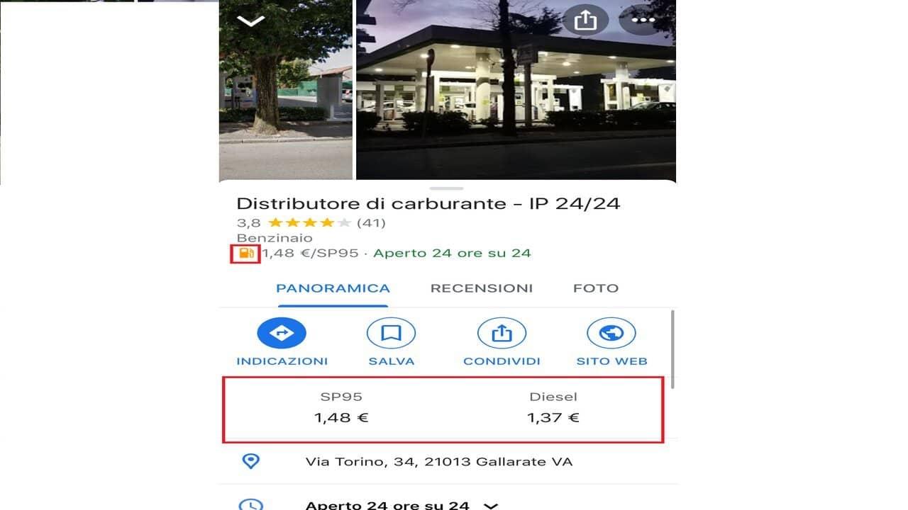 google maps prezzo carburante