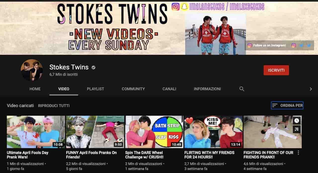 Il canale YouTube degli Strokes Twins