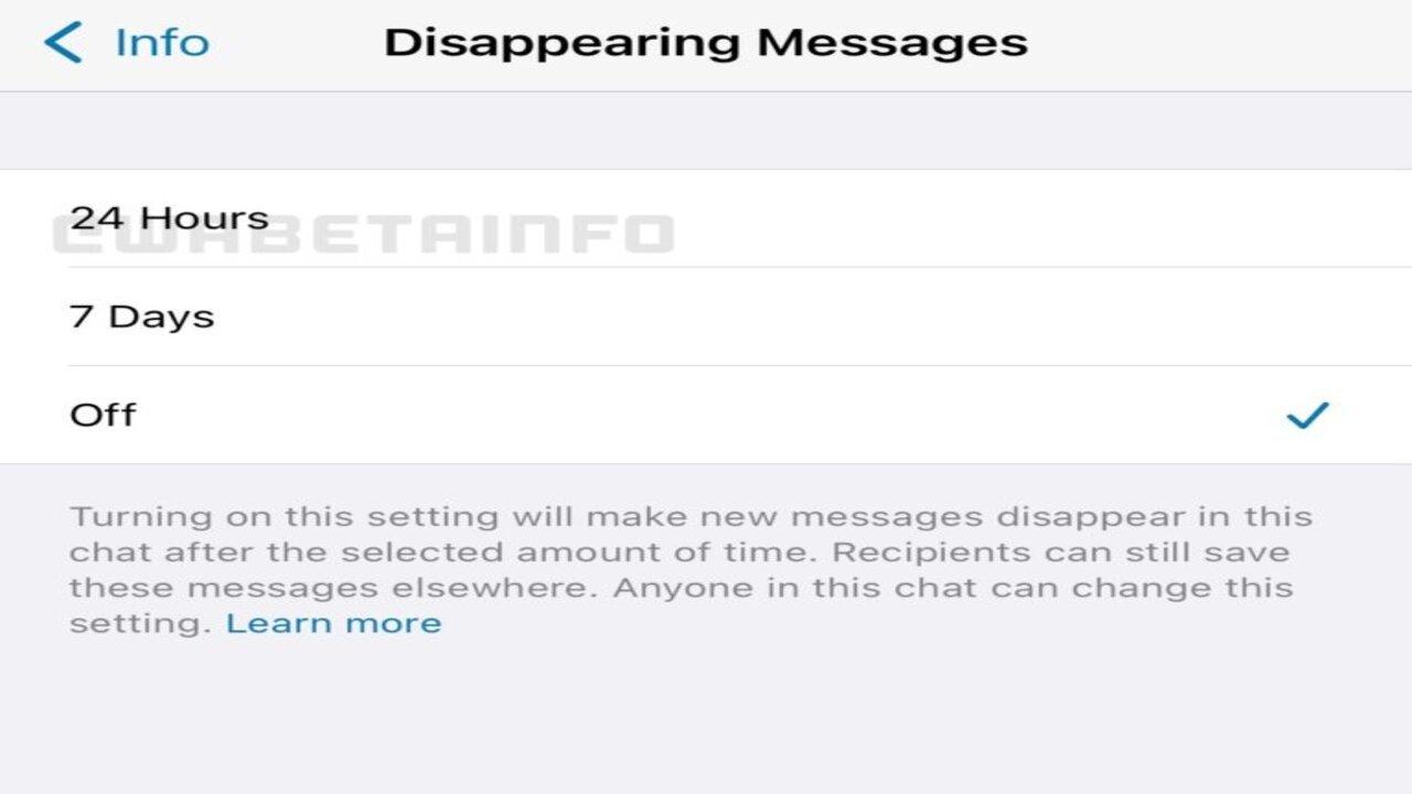 whstsapp messaggi effimeri 24 ore