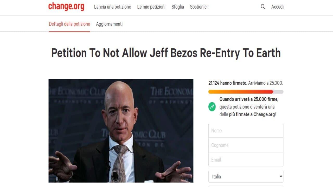 petizione jeff bezos