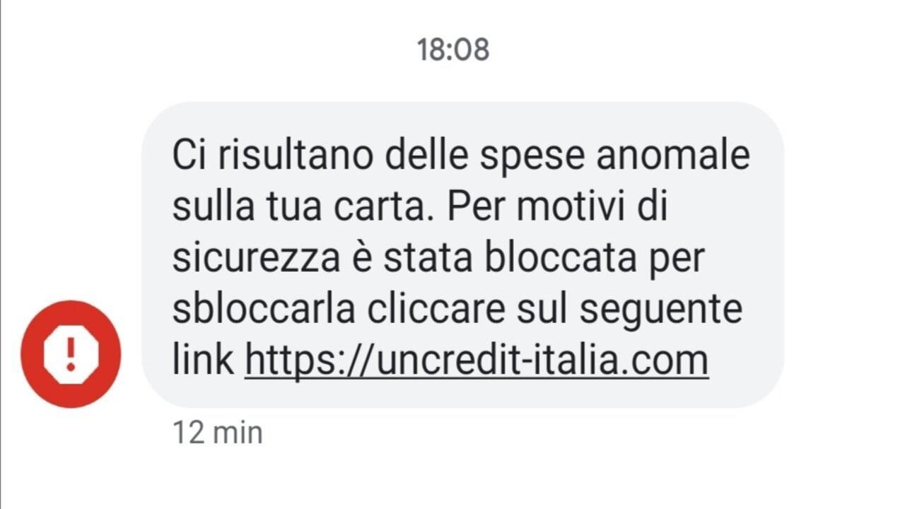 sms truffa unicredit